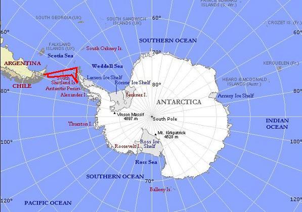 מפת אנטארקטיקה - הקוטב הדרומי (Antarctica Map)