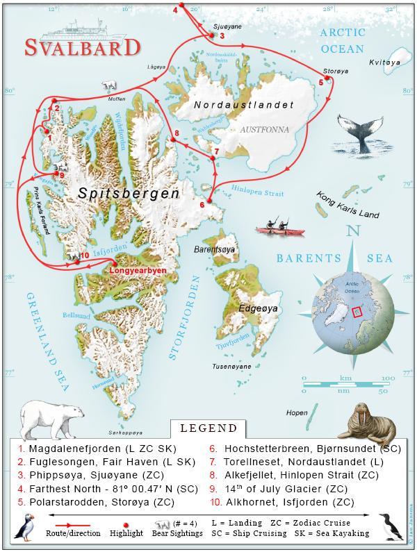 מפת ארכיפלג סבאלבארד (קוטב צפוני North Pole)