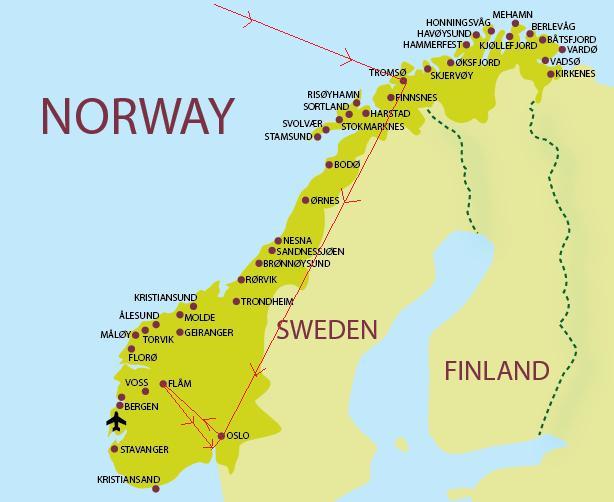 מפת נורווגיה (Norway Map)