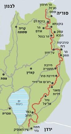 מפת שביל הגולן